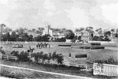 Christ Church, Georgetown, British Guiana, the year is 1850. You can see the British Militia practicing drills on what is now Parade Ground, next to the Promenade Gardens (fr Andrew Jeffrey's photos)