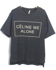 Grey CELINE ME ALONE CHANNEL Print Loose T-Shirt - Sheinside.com