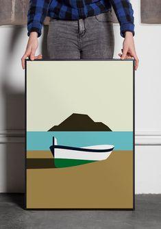 Illustration minimaliste et équilibré, d'un pirogue au bord de la mer. Un paysage où le temps ne passe pas. Dimensions : 49 x 69 cm