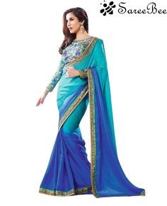 Be the sunshine of everybody's eyes dressed in such a gorgeous  Blue and Turquoise Designer Embroidered Bollywood Saree. Beautified with beads and embroidered work all synchroniz...
