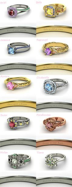 Disney Inspired rings.... I want tale old as time on my engagement or wedding ring :) so romantic