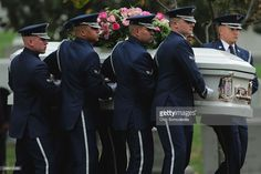 An Air Force Honor Guard casket team moves the remains of Maureen O'Hara, also known as Maureen FitzSimons Blair, into place before she is buried next to her husband, Air Force Brig. Gen. Charles Blair Jr., at Arlington National Cemetery November 9, 2015 in Arlington, Virginia. An actress and singer who was known as the Queen of Technicolor and starred in movies including 'How Green Was My Valley,' ''Miracle on 34th Street' and 'The Quiet Man,' O'Hara died October 24 at the age of 95.