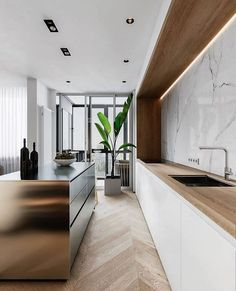 Nadire Atas on Sleek Modern Kitchen and Bathroom Marble Decor To Die For Minimal Interior Design Inspiration Modern Kitchen Design, Interior Design Kitchen, Interior Decorating, Modern Design, Interior Design Examples, Interior Design Inspiration, Design Ideas, Design Design, Design Trends