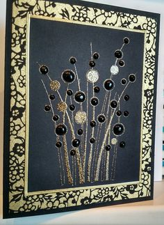 Spring Gems by Hero Arts with black Nuvo Crystal accents. Black & gold washi paper and a mix of black & gold embossing powder. Hand Made Greeting Cards, Birthday Greeting Cards, Patchwork Cards, Hero Arts Cards, Memory Crafts, Craftwork Cards, Embossed Cards, Button Art, Creative Cards