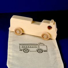 Fire Truck Party Favors - Package of 5 Wood Toy Fire Trucks with Goodie Bags - Great for Kids and Toddlers Parties