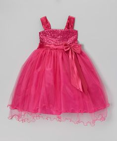 Take a look at this Fuchsia Sequin Tulle Dress - Toddler & Girls on zulily today!