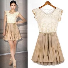 New Summer Fashion Dress Court style Retro Lace Sleeveless Vest Casual dress With Waist Rope