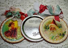christmas ornaments in canning jar flat