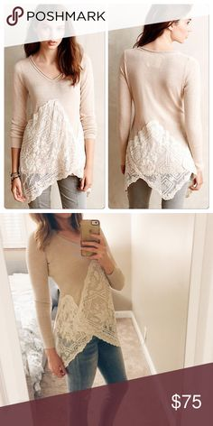 """Anthropologie Alpinum Pullover Lovely lightweight cream sweater with asymmetrical lace bottom. Made by Angel of the North. Material is cotton and acrylic. 25"""" long. Excellent condition. Anthropologie Tops Blouses"""