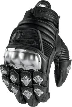 Icon TiMax Original Leather Motorcycle Gloves