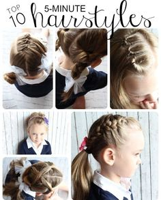10 Easy Hairstyles For Girls Hair Hair Styles Toddler Hair - hairstyles for girls kids hairstyles for girls updo Easy Little Girl Hairstyles, Easy Hairstyles For School, Easy Toddler Hairstyles, Young Girls Hairstyles, Children Hairstyles, Little Girl Braids, 5 Minute Hairstyles, Cute Hairstyles, Hairdos