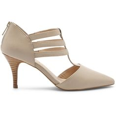 Sole Society Mallory T-Strap Heel ($70) ❤ liked on Polyvore featuring shoes, pumps, french taupe, stretch leather shoes, leather pumps, strap pumps, leather pointy toe pumps and taupe leather pumps