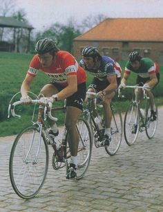 Mr. Freddy Martens, Roger De Vlaeminck and Francesco Moser 1976 Paris - Roubaix