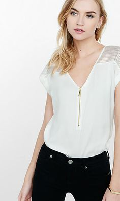 mesh shoulder silky v-neck blouse