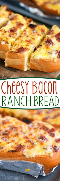 I've put all your favorites together in this fantastic and easy Cheesy Bacon Ranch Bread! Make it in the oven or on grill - it's your choice! A tasty addition to game day or any meal! Try making with Jimmy John's Day Old French Bread Bacon Recipes, Bread Recipes, Appetizer Recipes, Cooking Recipes, Bread Appetizers, Recipes Dinner, Potato Recipes, Casserole Recipes, Pasta Recipes