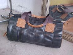 Moto Bag Made From Upcycled Bike Tubes and Leather by thingsbuilt