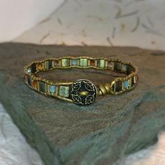 Leather Wrap Bracelet, Tila Beads with Faceted Fire Polished Czech Glass Beads & Miyuki Bugle Beads, Metal Button, Bohemian Style Jewelry