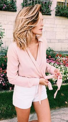 #streetstyle #fashion | Pink Wrap Tied Top + White Shorts | Caroline Receveur