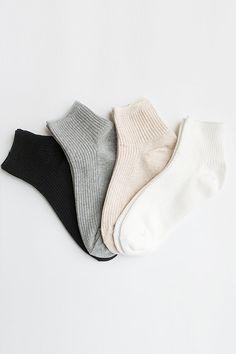 Women New Hezwagarcia 4 Mono Tone Colors Lot Basic Essential Package Cotton Mini Crew Ankle Socks