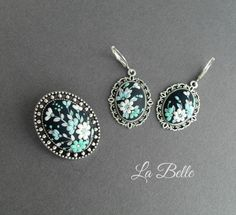 Set of brooch and earrings made of polymer от LaBelleByAlbina
