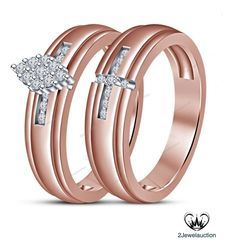 Women's Rose Gold Finish D/VVS1 Diamond Prongs Wedding Bridal Ring Set Jewelry  #2jewelauction
