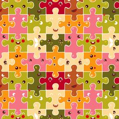 Funny puzzles fabric by verycherry on Spoonflower. Want a skirt in this pattern, too! Cuuute.