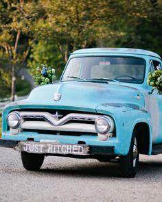 Vintage Ford Pickup Truck at Blackberry Farm. A Rustic Mountain Destination Wedding in Tennessee Wedding Exits, Plan Your Wedding, Destination Wedding, Martha Stewart Weddings, Celebrity Weddings, Tennessee, Rustic, Truck, Ford