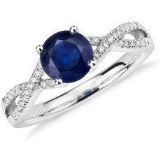 Blue Nile Sapphire and Diamond Twist Ring (2 915 AUD) ❤ liked on Polyvore featuring jewelry, rings, blue nile jewelry, sapphire jewelry, diamond band ring, diamond jewellery and 14k jewelry