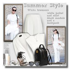 """""""Summer style (all white and black)!"""" by sarahguo ❤ liked on Polyvore featuring Anouska London Jewellery, Diane Von Furstenberg, River Island, Puma, Steve Madden, Gucci, Le Specs, Allurez, Honora and Kai"""