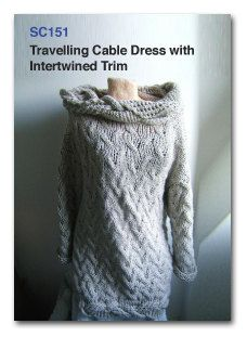 Travelling Cable dress with Intertwined Edging PDF knitting pattern.  See free pattern promotion and announcement in description