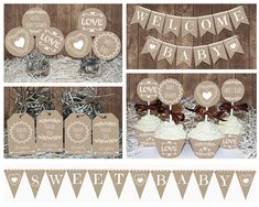 Neutral Rustic Baby Shower decorations printable, Gender neutral Baby shower, Lace and Burlap style decors, Baby shower idea, Neutral Baby Baby Shower Niño, Shower Bebe, Gender Neutral Baby Shower, Baby Shower Themes, Bridal Shower, First Birthday Parties, Birthday Party Decorations, Girl Birthday, Burlap Baby Showers