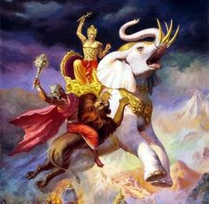 Indra on Iravatha -the sign of Royalty. Lord Shiva's bull Nandi represents strength and virility; Ganesha, the God of Wisdom riding Mushak (Rat), the symbol of Ignorance; Kartikeya/Murugan, rides Parvani, the splendid peacock and reigns its vanity; Ganga, rides a Makar or Alligator signifying the most dominant species of its waters;