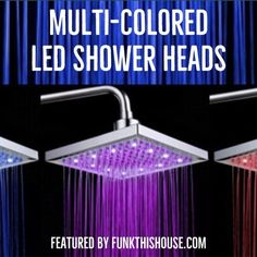 It's raining color in the shower, and you get to stand under it and come out clean as a whistle. These things are the oddest items, but yes, ones that most people would love to have. They also make a lovely, original, fun gift. A shower gift for a shower, that works. #showers #bathroomdecor #ledshowerheads #showerincolor #funkthishouse