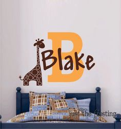 Safari Wall Decal, Giraffe Wall Decal, Name Vinyl Wall Decal, Boy Bedroom or Nursery Wall decal by JustTheFrosting on Etsy https://www.etsy.com/listing/152380487/safari-wall-decal-giraffe-wall-decal