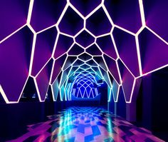 purple light blue interior Origami Structure