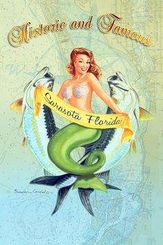 "Wood sign ""Boca Beauties"" by Brendan Coudal.  Tarpon, saltwater fish, mermaids, Boca Grande fishing, Sarasota, upscale coastal home.  Customization available.  $75.00.  www.BrendanCoudal.com"
