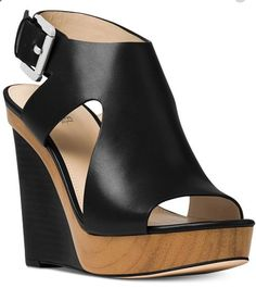 Platform Wedge Sandals, Leather Wedge Sandals, Wedge Heels, Michael Kors Wedge Sandals, Michael Kors Wedges, Black Wedge Shoes, Black Wedges, Cute Wedges Shoes, Flip Flop Shoes