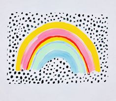 A beautiful rainbow with a polka dot background. The soft colours of the rainbow work beautifully with the black hand painted polka dots. Rainbow Print, Rainbow Colors, Rainbow Wallpaper, Polka Dot Wallpaper, Rainbow Painting, Kid Painting, Polka Dot Background, Rainbow Background, Bright Nursery