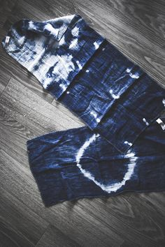 Avocado and Indigo Dyed Shibori Face Towel/Dish Rag