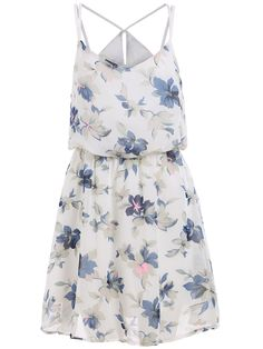 Spaghetti Strap Florals Chiffon White Dress 14.33