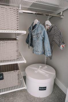 Blair's Closet and Organization Reveal – Karlie Rae Lang Nursery Drawer Organization, Baby Closet Organization, Organize Nursery, Nursery Layout, Nursery Ideas, Room Ideas, Project Nursery, Nursery Inspiration, Small Space Nursery
