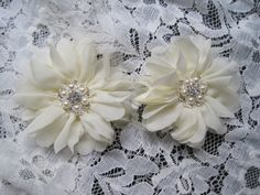 Ivory Set of Two Chiffon Flower Hair Clips with Pearl and Rhinestone Accents Hair Accessories Bridal Accessories Wedding Accessories by theraggedyrose on Etsy
