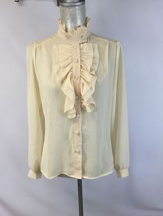 Vintage Front Ruffled Ruffles Shirt Long Sleeve Top Ivory Sophisticates 9 10  #SophisticatesbyJonathanMartin #Blouse #Casual