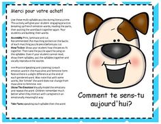 Puppy Emotions. ( French Syllable Puzzles Literacy Centre) | TpT Italian Words, French Words, Beginning Sounds, Little Games, Vowel Sounds, Syllable, Literacy Centers, Mathematics, How To Introduce Yourself