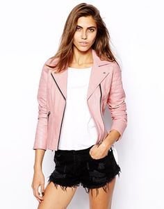 I really want a light pink leather jacket!