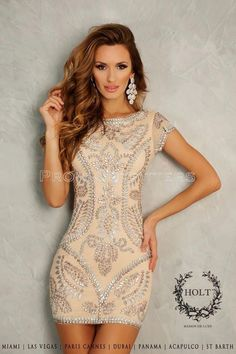 Champagne Sparkle Cocktail Dress - love the look of this dress but would like it a little longer.: