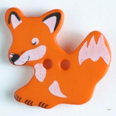fox button with holes Size: 25mm Color: orange-330877-20