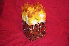 Minecraft fire block perler