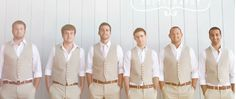 Grooms men in tan suit vests no jackets [[ I love the way this looks ]]
