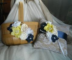 Navy and Yellow Flower Girl Basket and Ring Bearer Pillow - Rustic Wedding Set